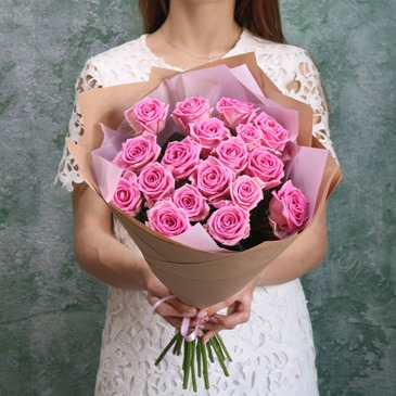 Bouquet of 19 pink roses 60 cm №40