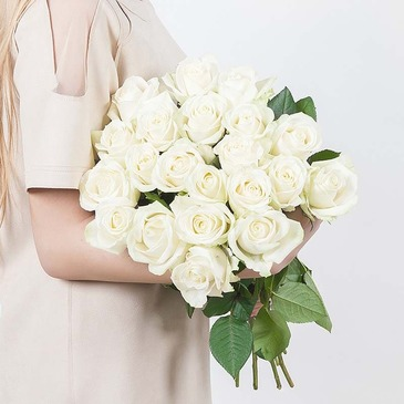 Bouquet of 19 white roses 60 cm №41